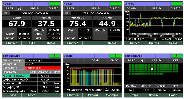 Примеры экранов измерителя