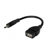 Шнур OTG USB A(гнездо) - Mini 5pin USB B(штекер) Rexant, черный, 0.15 м -